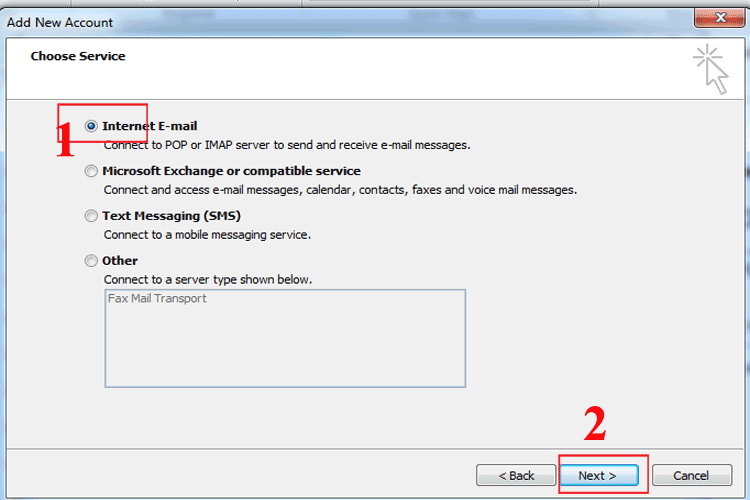 Outlook email _ Choose Service