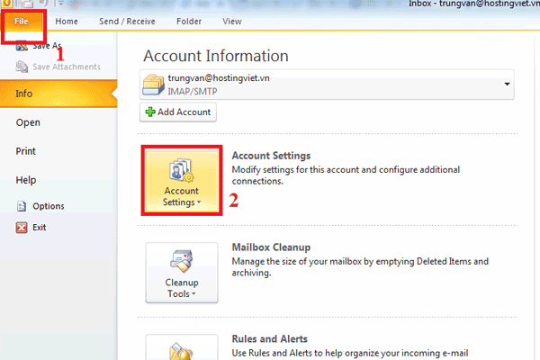 email outlook Account Settings