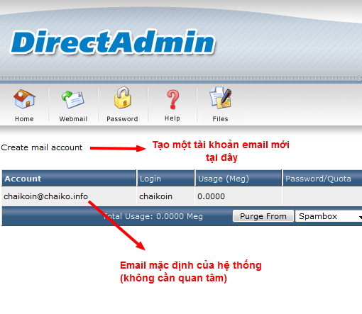 Cách lập email trên Directadmin 6