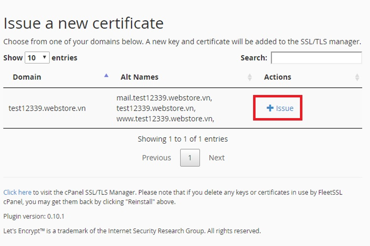 Issue a new certificate