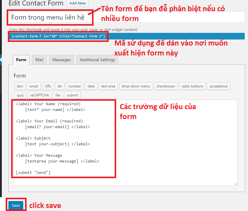 Plugin Contact Form 7 - setting
