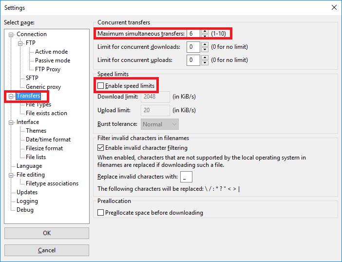 Hướng dẫn chỉnh tốc độ, số File đồng thời up/download trên Filezilla